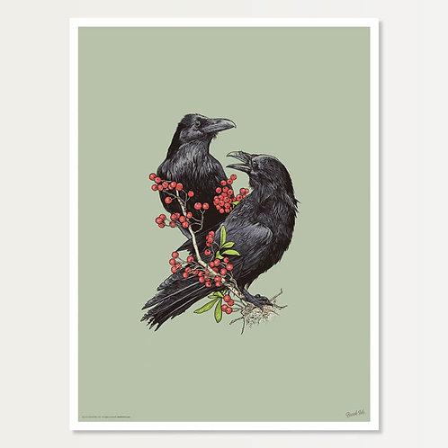 Ravens with Berries Art Print 18x24