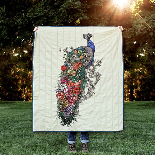 Peacock's Garden Quilted Throw Mini