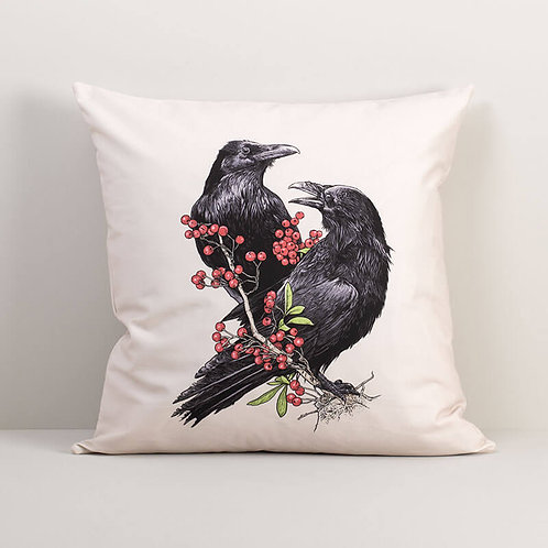 Ravens with Berries Pillow Cover