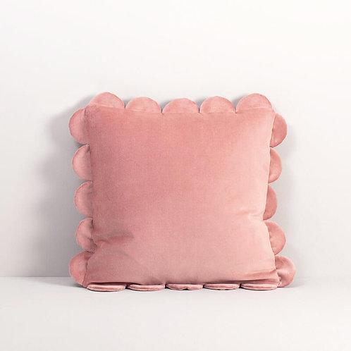 Velvet Scalloped Pillow Cover in Tea Rose