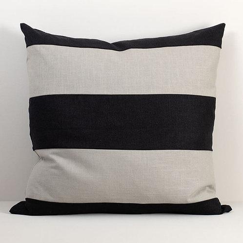 Linen Striped Pillow Cover Black/Warm Gray