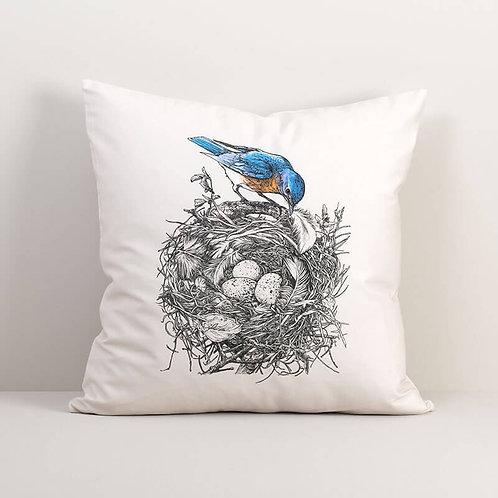 Bluebird's Nest Pillow Cover