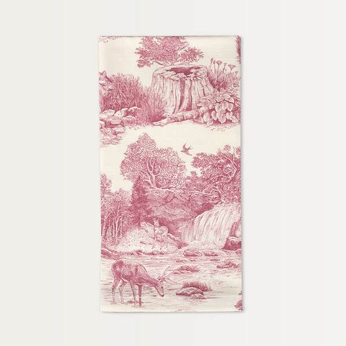 Cotton Sateen Napkins in Red Woodland Toile
