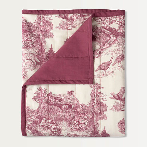 Woodland Toile Quilted Throw in Vintage Red Mini