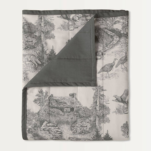 Woodland Toile Quilted Throw in Gray