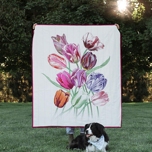 Eleven Tulips Quilted Throw Mini
