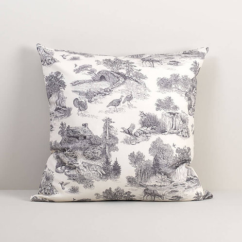 Woodland Toile Gray Pillow Cover