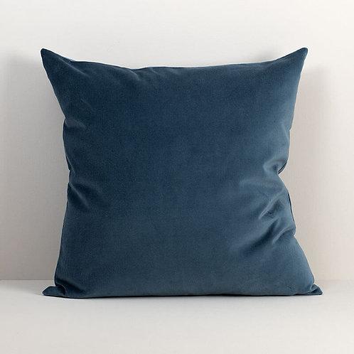 Velvet Square Pillow Cover in Ocean Blue