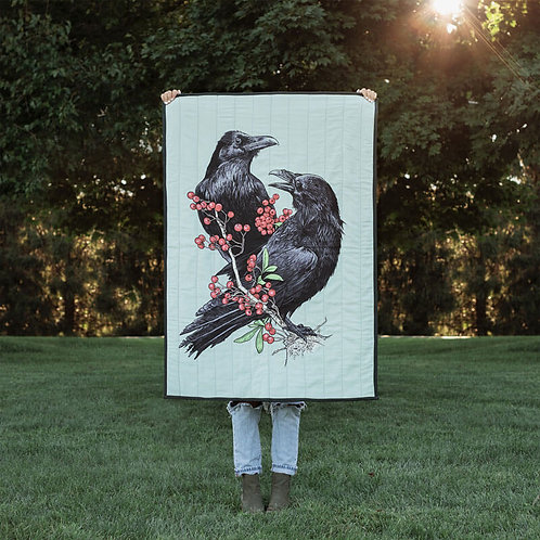 Ravens with Berries Quilted Throw Mini