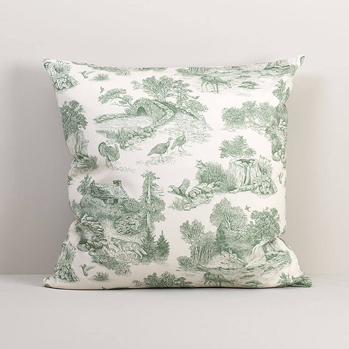 Woodland Toile Sage Pillow Cover