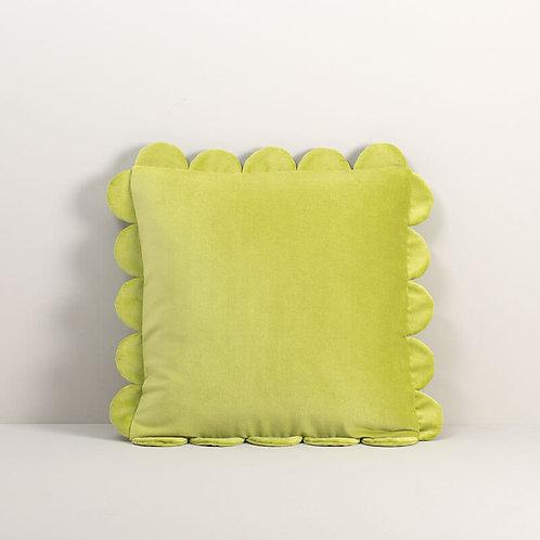 Velvet Scalloped Pillow Cover in Chartreuse