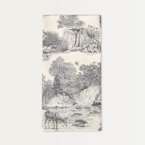 Cotton Sateen Napkins in Gray Woodland Toile