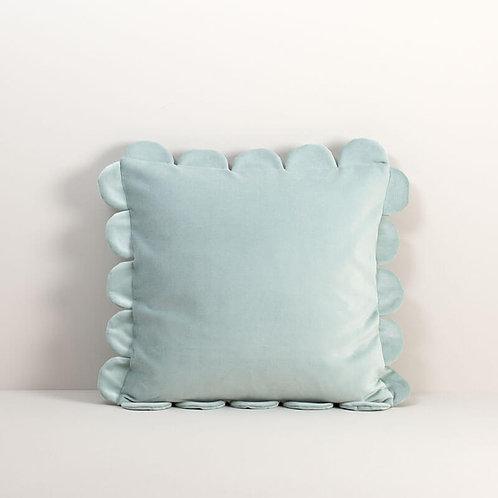 Velvet Scalloped Pillow Cover in Chalk Blue