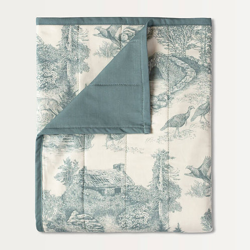 Woodland Toile Quilted Throw in Sage