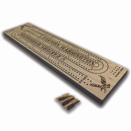 Eastern Washington Eagles Wood Cribbage Board