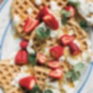 Waffles with Strawberries & Coconut Yoghurt