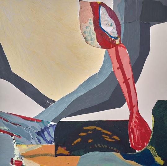 Quinto elemento I – da série Sonho de Vôo, 2019 colagem e tinta acrílica sobre madeira 148 cm x 148 cm