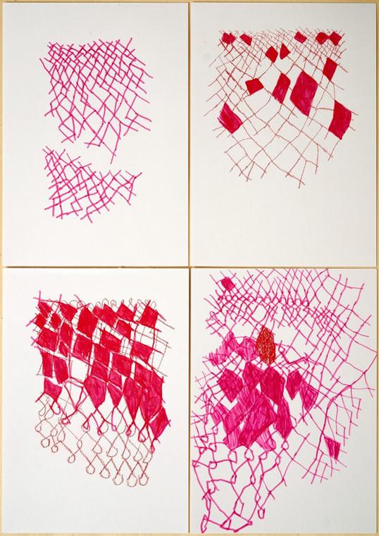 O fazer aéreo II, 2019 caneta hidrográfica sobre papel Fabriano 68,5 cm x 51 cm cada