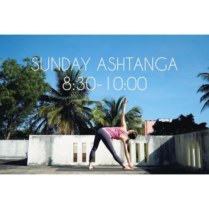 日曜日のアシュタンガ再開のお知らせ