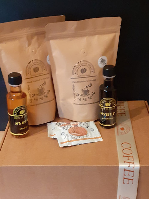 Coffee Gift Set - 2 x250g Coffee, 2 x100ml Coffee Syrup & 2 Stoopwaffle