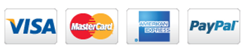 we accept Visa, Mastercard, AmericanExpress,PayPal and Worldpay