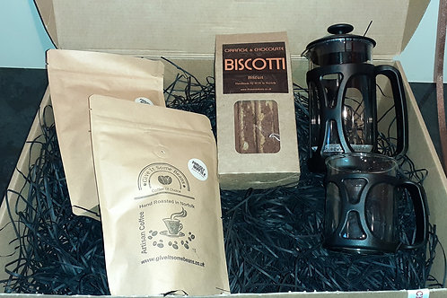 Coffee Gift Set with Cafetiere, Cup and Biscotti
