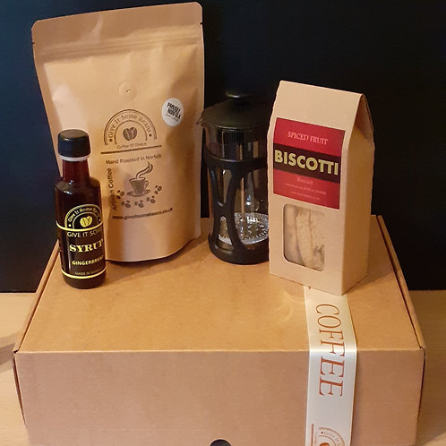 Coffee Gift Set with Cafetiere, Biscotti & Syrup