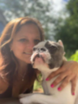 Lynda Gillin with a Walks and Whiskers dog