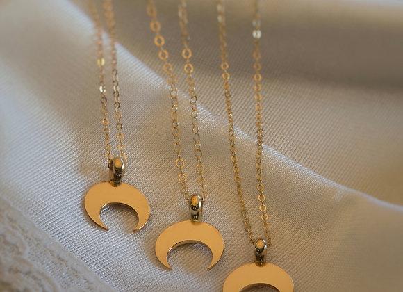 Golden Crescent Moon Necklace