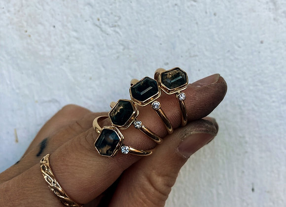 Moss Agate and White Sapphire