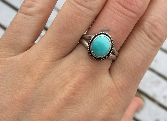 Baby blue turquoise ring with split band