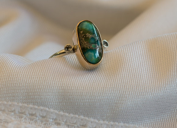 Turquoise and White Sapphire Ring size 7