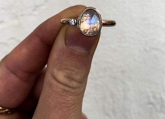 Rainbow Moonstone and White Sapphire