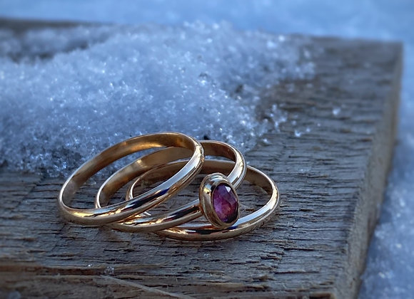 Tourmaline and Goldfill Ring Stack
