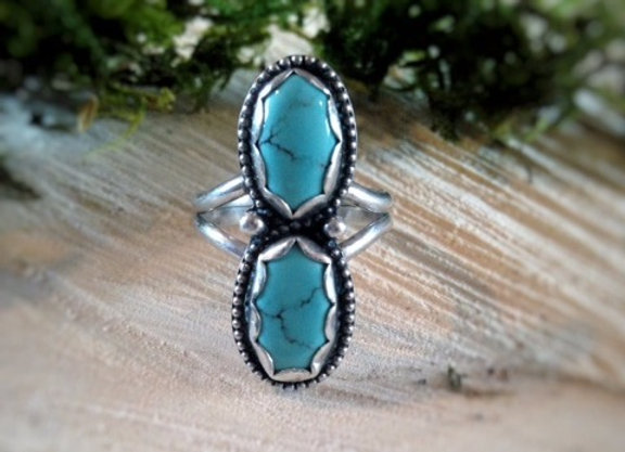 Double Turquoise Ring with Beaded Wire