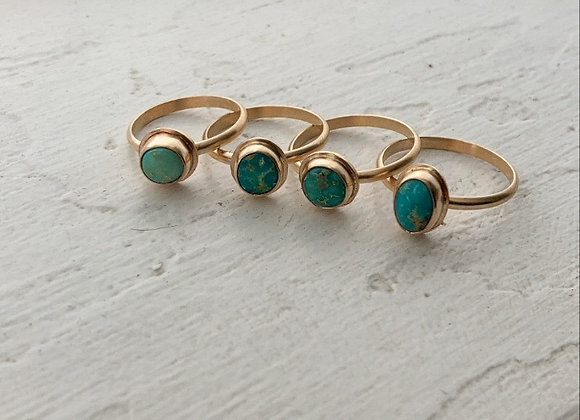 Goldfill and turquoise rings