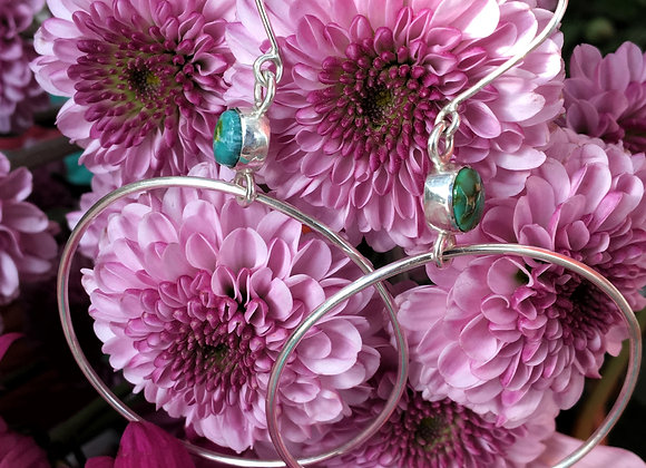 Mismatched turquoise hoops