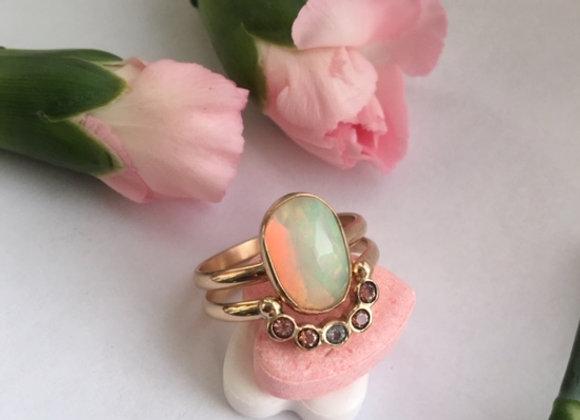 14k Gold Opal Wedding Set