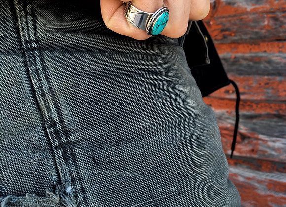 Turquoise men's ring with detailed band