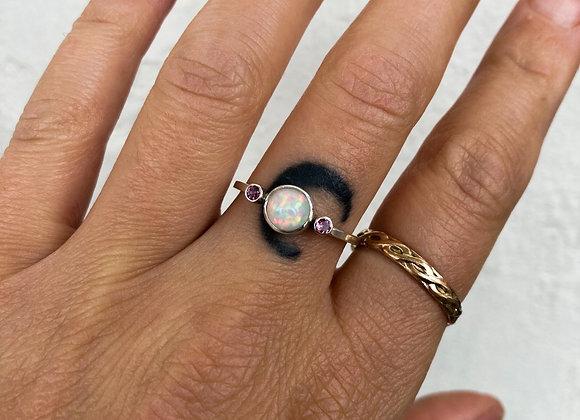 Pink Tourmaline and Ethiopian Opal