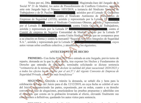 SENTENCIA ESTIMATORIA ANULANDO PLAN DE VACACIONES SEGURISA MADRID 20/23
