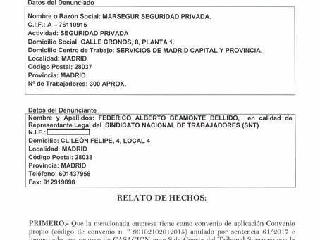 DENUNCIA ADMINISTRATIVA SALARIO DEBIDO EN IT Y DOCUMENTOS PAGO DIRECTO TRABAJADORES MARSEGUR SEGURID