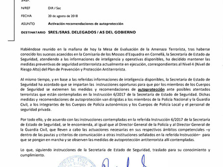OFICIO administrativo con salida nº 4543 de Secretaria de estado de Seguridad