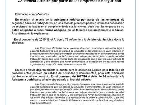 MODIFICACIÓN ENCONTRADA EN REFERENCIA Asistencia Jurídica por parte de las empresas de seguridad.