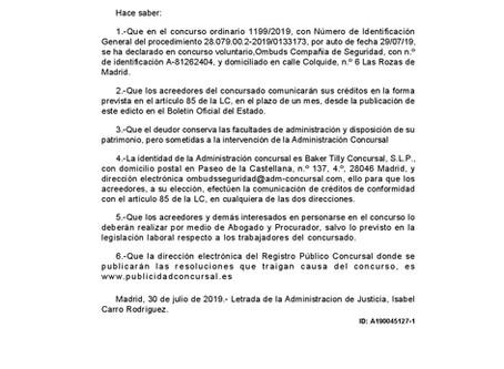 PUBLICACIÓN EN EL BOE EL CONCURSO DE ACREEDORES OMBUDS