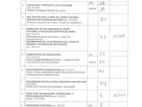 CALENDARIO ELECTORAL PARA EL COMITÉ DE EMPRESA DE LA RESIDENCIA DOMUS VI PARQUE COSLADA MADRID 2020