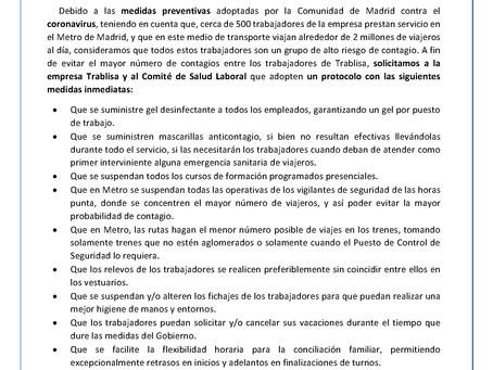 Medidas preventivas ante el coronavirus en TRABLISA solicitadas por el SNT
