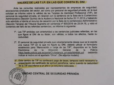 RECORDATORIO A LOS VV.SS SOBRE EL CAMBIO DE LA TIP EN LA CONSTA EL DNI