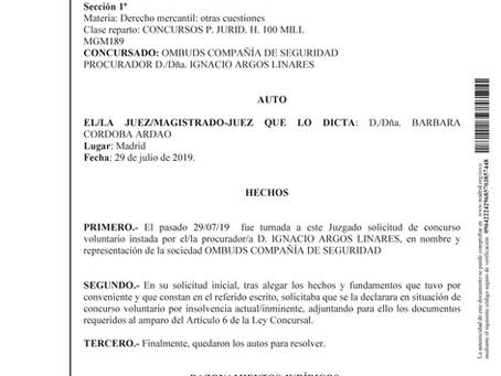CONCURSO VOLUNTARIO DE OMBUDS COMPAÑIA DE SEGURIDAD,S.A.