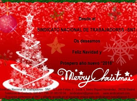 """Desde el SINDICATO NACIONAL DE TRABAJADORES –SNT- Os deseamos Feliz Navidad y Próspero año nuevo """"20"""